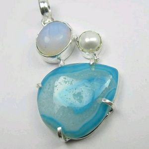 Jewelry - SALE BOTSWANNA AGATE STUNNING HANDMADE PENDANT